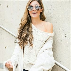❤ Leith Gray Cable Knit Off The Shoulder Sweater S